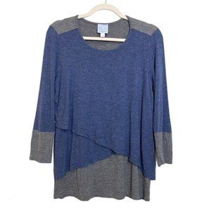 SUNDAY Size Small Blouse Tiered Front 3/4 Sleeve